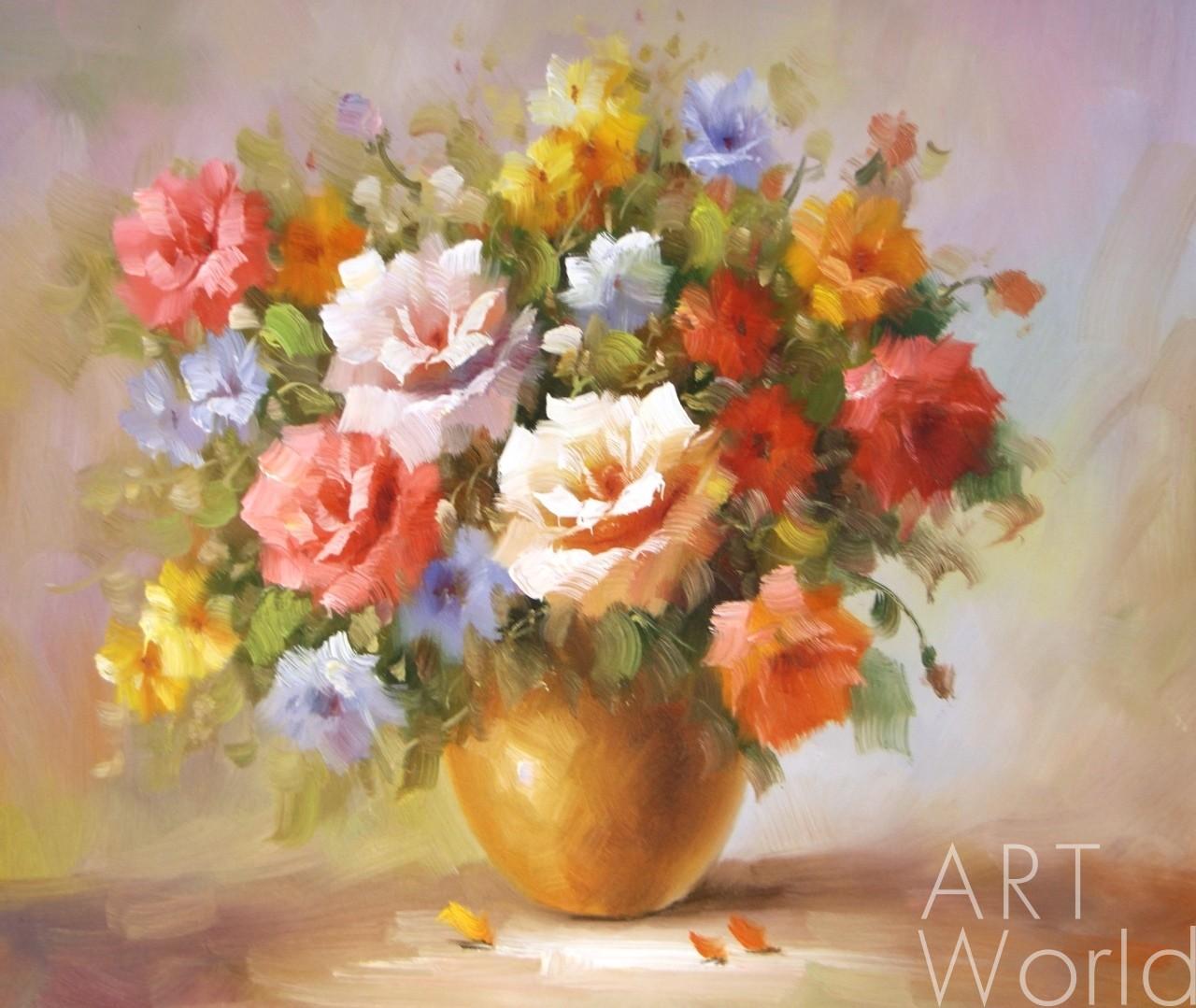 Букет цветов фото маслом