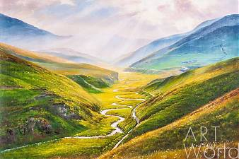 """Пейзаж маслом """"Там, где горы встречаются с небом"""""""