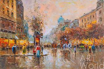 "Пейзаж Парижа Антуана Бланшара ""Les grands boulevards"" (Большие бульвары Парижа), художник К. Виверс"