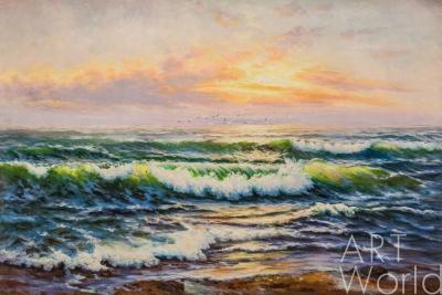 """картина масло холст Пейзаж морской маслом """"Лазурное море, огнистая даль..."""", Лагно Дарья, LegacyArt"""