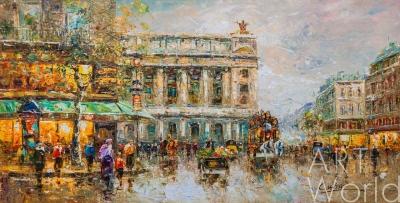 """картина масло холст Пейзаж Парижа Антуана Бланшара """"Cafe de la Paix Opera N2"""", копия Кристины Виверс, Бланшар Антуан (A. Blanchard)"""