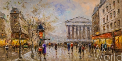 "картина масло холст Пейзаж Парижа Антуана Бланшара ""Rue Royal Madeleine"" N2 (копия Кристины Виверс), Бланшар Антуан (A. Blanchard)"