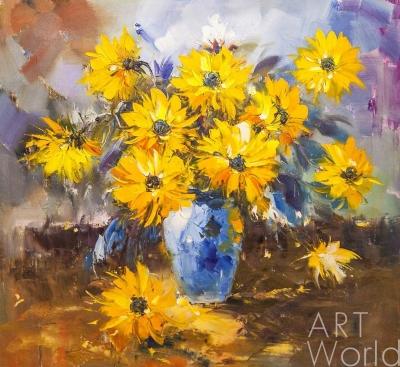 """картина масло холст Картина маслом """"Букет желтых цветов в синей вазе N2"""", Потапова Мария , LegacyArt"""