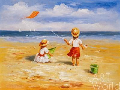 """картина масло холст Картина в детскую """"Дети на пляже. За бумажным змеем"""", Потапова Мария , LegacyArt"""