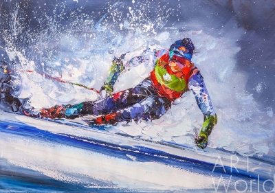 "картина масло холст Картина маслом ""Горные лыжи N3"", Родригес Хосе, LegacyArt"