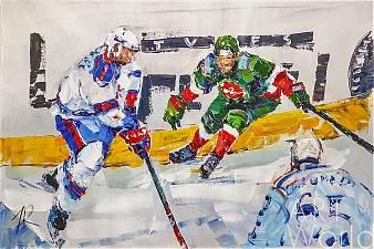 "картина масло холст Картина маслом ""Хоккеисты"", Родригес Хосе, LegacyArt"