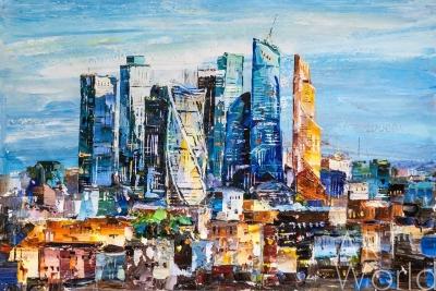 "картина масло холст Картина маслом ""Вид на Москва-Сити. Деловое сердце столицы"", Родригес Хосе, LegacyArt"