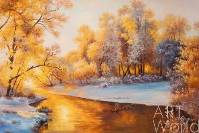 """картина масло холст Пейзаж маслом """"Утро в жемчужном лесу"""", Ромм Александр, LegacyArt"""