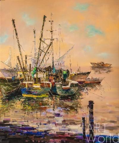 "картина масло холст Картина маслом ""Рыбацкие лодки в закатном мареве"", Виверс Кристина, LegacyArt"