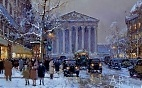 картина масло холст Rue Royale Madeleine in winter,