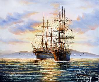 """картина масло холст Морской пейзаж маслом """"Парусники на якоре N1"""", Картины в интерьер, LegacyArt"""
