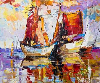 "картина масло холст Пейзаж маслом ""Лодки N2. Серия ""Морская разноцветная"", Кристина Виверс, LegacyArt"