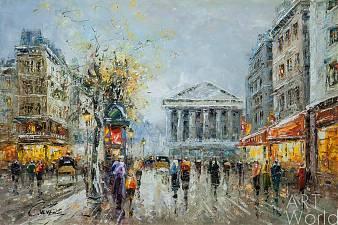 """Живопись в жанре импрессионизм - Пейзаж Парижа Антуана Бланшара """"Paris, Rue Tronchet (копия Кристины Виверс)"""""""