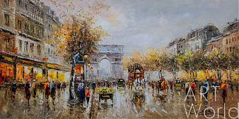 "картина масло холст Пейзаж Парижа Антуана Бланшара ""Champs Elysees, Arc de Triomphe"" (копия Кристины Виверс), Антуан Бланшар (A. Blanchard)"
