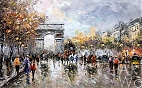 "картина масло холст Пейзаж Парижа Антуана Бланшара ""Champs Elysees, Arc de Triomphe"" (копия Кристины Виверс),"