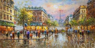"картина масло холст "" La Tour Eiffel  (Вид на Эйфелеву башню, копия Кристины Виверс) "", Антуан Бланшар (A. Blanchard)"