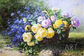 """Картина маслом """"Натюрморт с желтыми розами в корзине"""""""