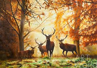 """картина масло холст Пейзаж маслом """"Осенью на оленьей тропе"""", Савелий Камский, LegacyArt"""
