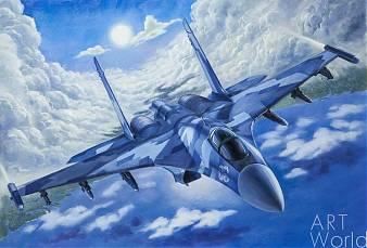 """картина масло холст Картина маслом """"Самолет Су-35. Уходя в зенит"""", Савелий Камский, LegacyArt"""