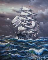 """картина масло холст Морской пейзаж маслом """"Парусник в предгрозовом море"""", Картины в интерьер, LegacyArt"""