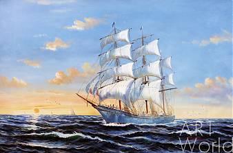 """картина масло холст Морской пейзаж маслом """"Парусник. Закат"""", Картины в интерьер, LegacyArt"""