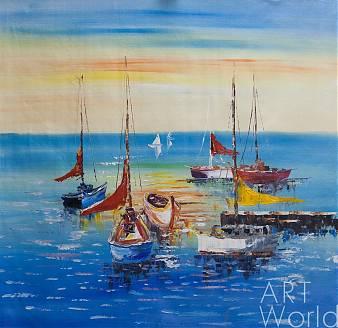"""картина масло холст Морской пейзаж маслом """"Лодки у причала. Закат"""", Картины в интерьер, LegacyArt"""