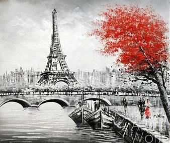 """картина масло холст Пейзаж маслом """"Париж. Вид на Эйфелеву башню через Сену. Красно-черная версия N5"""", Картины в интерьер, LegacyArt"""
