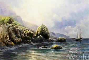 картина масло холст Копия морского пейзажа Льва Лагорио «На берегу», Дарья Лагно, LegacyArt
