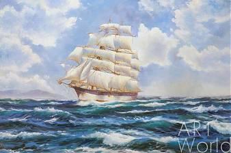 картина масло холст Вольная копия картины Доусона Монтего (Montague Dawson) «American Windjammer Under Full Sail», Дарья Лагно, LegacyArt