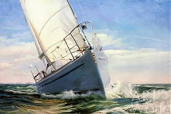 картина масло холст Морской пейзаж с парусником «Под белым парусом», Дарья Лагно, LegacyArt