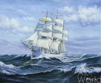 """картина масло холст Морской пейзаж маслом """"Парусник. Белой птицей над волнами"""", Дарья Лагно, LegacyArt"""