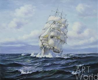 """картина масло холст Морской пейзаж маслом """"Парусник. Гармония белого и синего N2"""", Дарья Лагно, LegacyArt"""