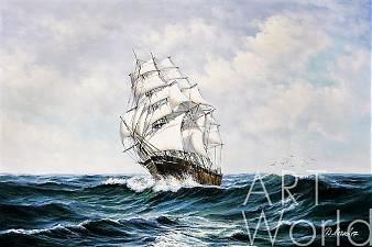 """картина масло холст Морской пейзаж маслом """"Парусник. На гребне волны N1"""", Дарья Лагно, LegacyArt"""