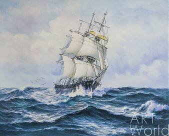 """картина масло холст Морской пейзаж маслом """"Парусник в бурном море"""", Дарья Лагно, LegacyArt"""