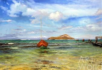 """картина масло холст Морской пейзаж с лодкой """"На райских островах», Дарья Лагно, LegacyArt"""