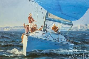 картина масло холст Морской пейзаж с яхтой «Командная работа N2. Версия DL», Дарья Лагно, LegacyArt