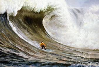 картина масло холст Морской пейзаж «Серфинг. Покоряя волны», Дарья Лагно, LegacyArt