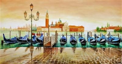 """картина масло холст Пейзаж маслом венецианский """"Гондолы. Вид на Сан-Джорджо Маджоре. Эффект заката"""", Ромм Александр, LegacyArt"""