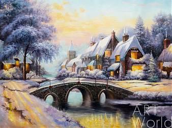 """Копия картины Томаса Кинкейда  """"Булыжный мост на Рождество (Cobblestone Christmas)"""", худ. А.Ромм"""