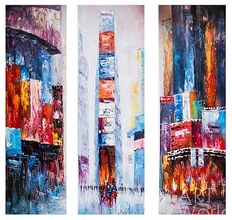 "картина масло холст Пейзаж маслом ""City. Shades Of Purple. Triptych (Город. Оттенки фиолетового. Триптих)"", Кристина Виверс, LegacyArt"