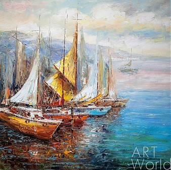 "картина масло холст Пейзаж морской маслом ""Парусники в заливе N2"", Кристина Виверс, LegacyArt"