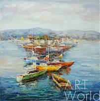 """картина масло холст Пейзаж морской маслом """"Средиземноморье. Парусники и лодки"""", Кристина Виверс, LegacyArt"""