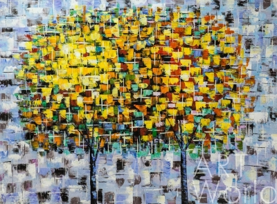 "картина масло холст Абстракция маслом ""Деревья. Осенний дуэт"", Кристина Виверс, LegacyArt"