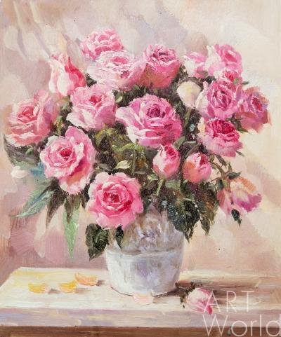"""картина масло холст Натюрморт маслом """"Букет розовых роз"""", Анджей Влодарчик, LegacyArt"""