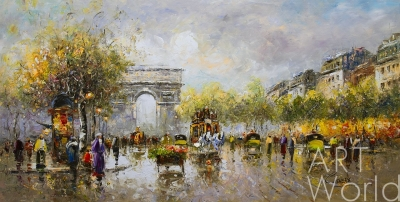 "картина масло холст Пейзаж Парижа Антуана Бланшара ""Champs Elysees, Arc de Triomphe"" (копия Кристины Виверс), Бланшар Антуан (A. Blanchard)"