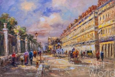 "картина масло холст Пейзаж Парижа Антуана Бланшара ""Rue de Rivoli"", вольная копия Кристины Виверс, Бланшар Антуан (A. Blanchard)"