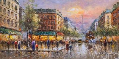"картина масло холст ""La Tour Eiffel  (Вид на Эйфелеву башню, копия Кристины Виверс) "", Бланшар Антуан (A. Blanchard)"