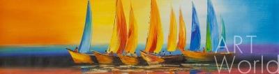 """картина масло холст Абстракция маслом """"Разноцветные яхты N1"""", Брайн Дюпре, LegacyArt"""