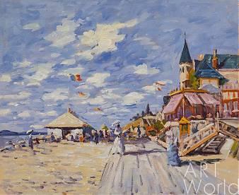 """Копия картины """"Променад на пляже в Трувиле, 1870"""" (The Boardwalk on the Beach at Trouville 1870), копия С.Камского"""