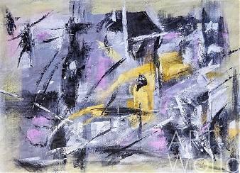 """Картина красками на холсте - Абстракция маслом """"Прогулка по Галактике"""""""
